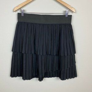 Relativity M Skirt Layered Tiered Pleated Black